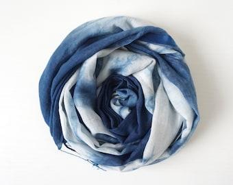 S.A x Indigo Dye Handmade Silk+Cotton Scarf, Ink Painting/ Line/ Ocean/ Liberté