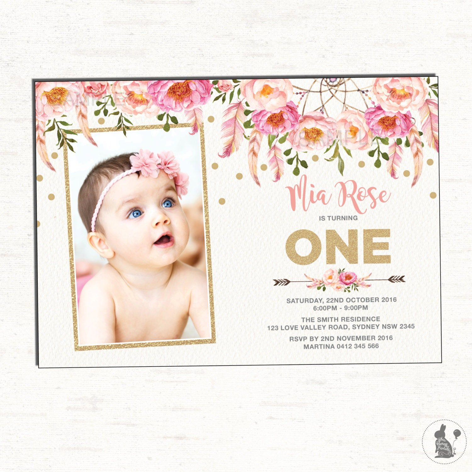Floral First Birthday Invitation. Pink And Gold Party Invite