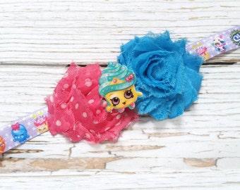 Shopkin Headband | Blue and Pink Shopkins Headband | Shopkins Birthday Party | Paw Patrol Party | Cupcake Shopkin Headband