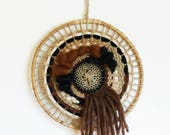 Weaving circular vintage round Bohemian wall tapestry, woven decoration, wall decoration, gift, made in France, nayquach.