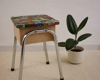 Refurbished vintage shoeshine stool African fabric