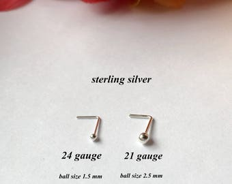 Small Dot Nose Stud. Sterling Silver Nose Stud.