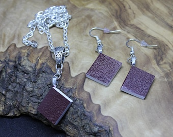 Hand made, Dolls House, Miniature, Book Necklace and Earrings set *With real blank pages!* - available in various colours.