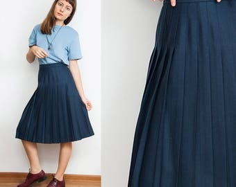 Vintage Virgin Wool Pleated Skirt
