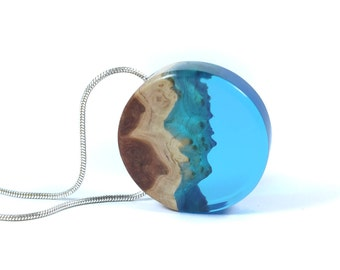 Wood Resin Pendant, Outdoorsy, Beach outfit, Resin Pendant, Hippie Jewelry, Blue Necklace, Boho Chic, December Birthday, Original Design
