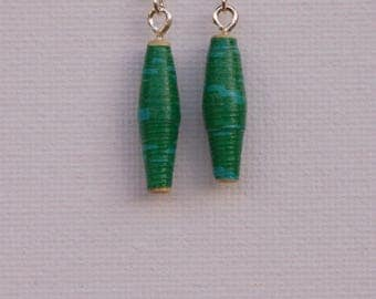 Green dangle earrings made from recycled materials