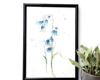 Bluebell A4 print //flower art print //Botanical illustration //Blue flower illustration //Watercolour art print // illustration //wall art