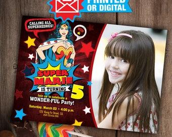 Printed or Digital - Wonder Woman Invitation, Printable Wonder Woman Party, Wonder Woman Birthday, Wonder Woman invitations, Wonder Woman