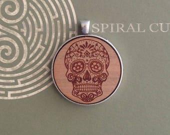 Sugar Skull Design- Laser Cut and Engraved Wood Pendant Necklace.