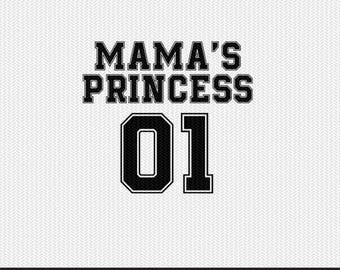 mama's princess 01 sports  dxf file instant download silhouette cameo cricut clip art commercial use