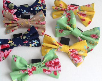 Spring floral bow for dog collar