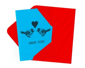 Great Tits Greetings Card