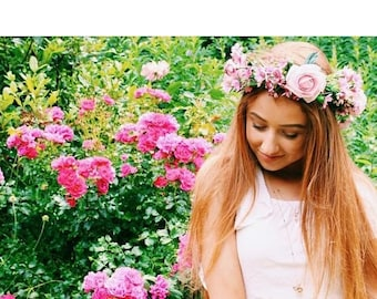 Pink Rose & Daisy Flower Crown