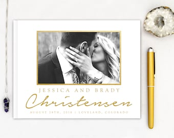 Real Gold Foil Wedding Guest Book Landscape Horizontal Gold Foil Guest Books Custom Guestbook Modern Wedding Script Wedding - Photo Frame