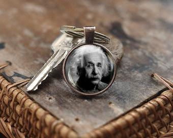 Albert Einstein Keychain, Science Keychain, Geek Keychain, Gift for Him, Quantum Physics Keychain, math teacher Keychain