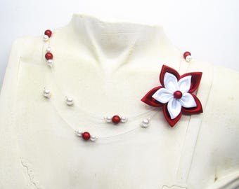 Wedding necklace, red and white flower wedding necklace Pearly magic beads and Crystal beads