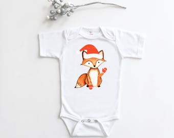 Christmas Bodysuit, Holiday Fox, Baby Holiday Outfit, Baby Christmas Gift, Quirky Bodysuit, Funny Baby Gift, Baby Shower Gift