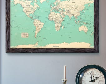 Push Pin Map | Teal World Map 24x36"