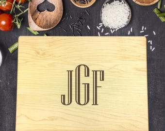 Monogram Cutting Board, Custom Cutting Board, Personalized Cutting Board, Cutting Board Wedding Gift, Engraved Board,  B-0062 Rec
