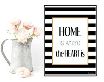Home is where the heart is, Love quote, Quote poster, Typography quote black and white, Modern design, Home wall art decor, Quote print