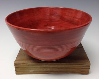 Cedar-red shino serving bowl, ceramic mixing bowl, pottery utility bowl