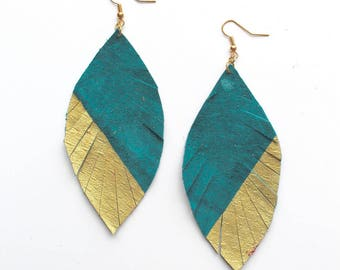 Teal and Gold Feather Earrings