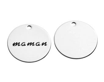 "5 pendants medallions engraved ""MOM"" 2.1 cm stainless steel"
