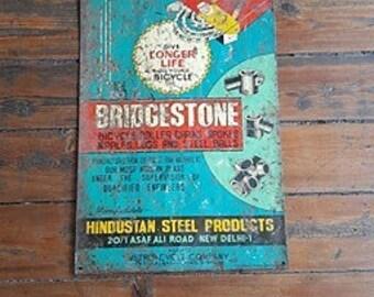 Vintage Bridgestone Bike Parts Metal Sign