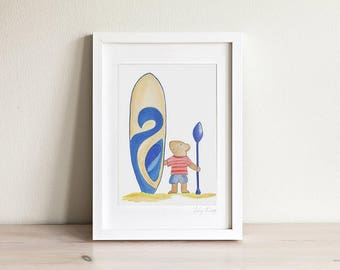 Surf Art, Kids Beach Art, Nautical Kids Room, Kids Bear Art, Kids Bear Print, Ocean wall art, Nautical Kids Art, Kids Prints, Kids Art