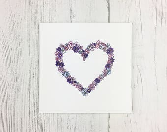 Floral Heart  Card / Anniversary Card / Card for Wife / Girlfriend Card / Card for Partner / Mothers Day Greetings / Cards For Her