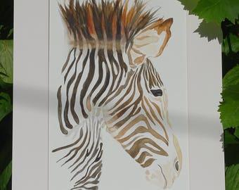 Zebra - watercolor original animal - Zebra