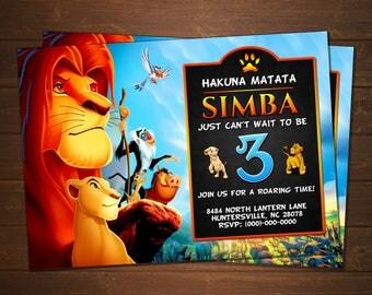 Custom The Lion King Birthday Invitation - 5x7 or 4x6