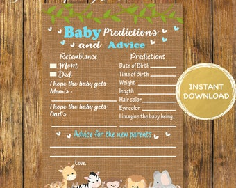 Baby Shower Safari Baby Predictions and Advice Game -Digital Instant Download-Burlap Jungle Games-Baby Advice-Baby Shower Games Boy
