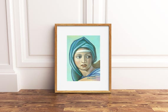 Delphic Sibyl, the vault of the Sistine Chapel, reproduction of the fresco by Michelangelo, lovers of Renaissance art, home decoration.