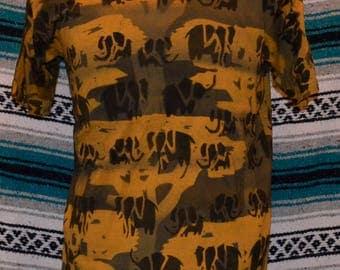 Vintage Neoethnic Jungle Line Kichaka Shirt Handmade All Over Print Rare Medium Cotton