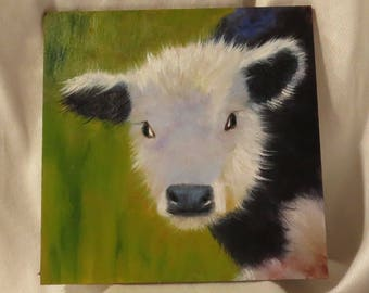 Calf painting cow painting fluffy black and white