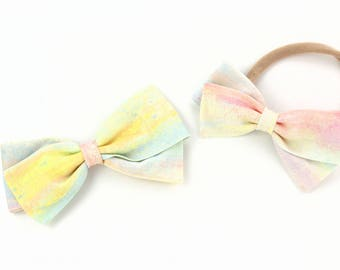 Colorful Bow - Bows for girls of all ages - Nylon Headband or Hair Clips