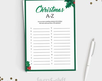 Christmas Party Game - Christmas A to Z - Instant Download - 5x7 Printable - Fun Holiday Party Game for All Ages - Adult Xmas Party