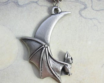 Pewter Bat and Moon Necklace - Gothic Goth Vampire Halloween, Crescent Moon, Bats, Pewter Pendant