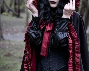 Black Coat, Gothic Coat, Velvet Coat, Black Cape, Hooded Coat, Cape Coat, Red Coat, Cape, Black and Red Coat, Big Hood, Black Velvet