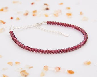Womens Bracelet - Red Garnet Bracelet - January Birthstone Bracelet - Delicate Bracelet - Red Garnet Jewelry - Simple Bracelet - Womens Gift
