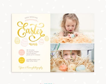 Easter Mini Session Template, Easter Marketing Board, Easter Minis, Easter Mini Sessions, Photographer Marketing, Easter session, Gold eggs