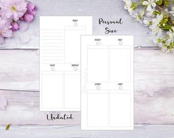 Undated WO2P | Personal| Printed | Planner | Insert | Week on 2 pages | Filofax | Kikkik | Plain style | 13 Weeks | 52 Weeks