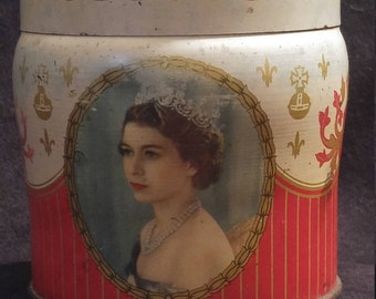 Tin box for the coronation of Queen Elizabeth II of England.