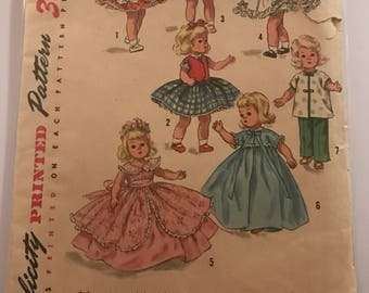 "1950's doll clothing pattern for 8"" doll"