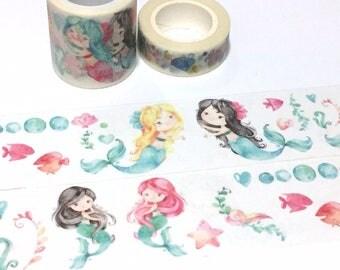 mermaid washi tape 5M x 4cm little mermaid fairy tale sticker tape extra wide tape fancy underwater sea shell sea fairy elf decor tape