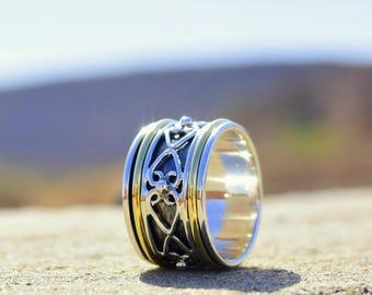 Sterling Silver Spinner Ring, meditation ring, fidget ring, worry ring, wide band, sterling silver spinning ring, 925 sterling silver, Yoga