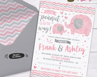 Elephant Baby Shower invitation Girl Elephant baby shower DIY printable couples pink and grey elephant baby shower invitation