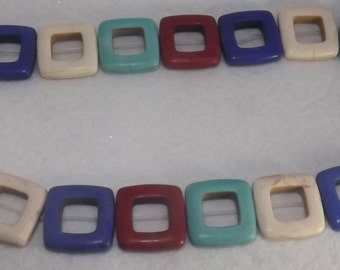20 mixre howlite, rainbow, square synthetic turquoise, 20x20 mm