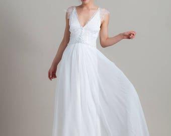 Romantic wedding dress, Lace wedding dress, Simle wedding dress, Wedding gown, Couture gown, Embroidered wedding dress, Greek wedding dress